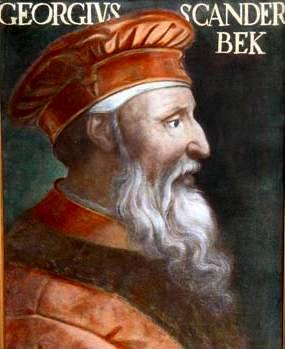 Retrato de Gjiergj Kastrioti de 1466. Único retrato original que se conserva. Galería Degli Uffizi, Florencia.